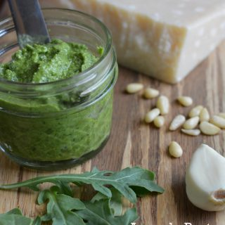 How to Make Arugula Pesto in 3 steps. Easy, healthy, condiment/dip recipe. Replace basil with arugula for pesto variety. 5 min to make. thekitchengirl.com
