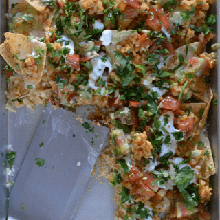 Very Vegetarian Nachos made with Mexican Brown Rice | The Kitchen Girl #healthy #meatless