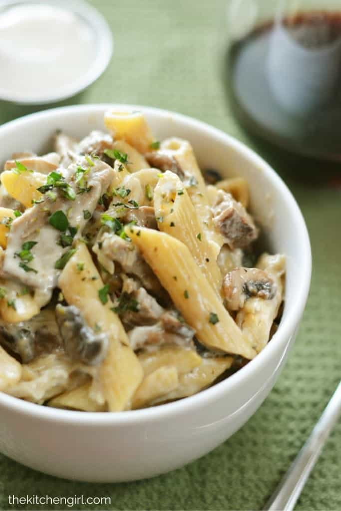 Homemade Beef Stroganoff in 30 Minutes made with an easy béchamel (white sauce) of 1% milk instead of heavy cream. thekitchengirl.com