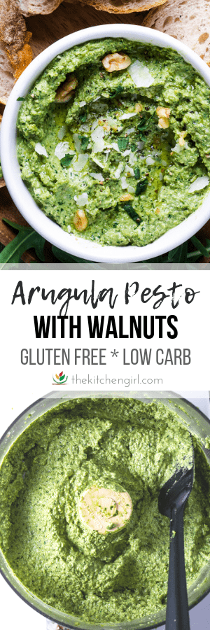 green arugula pesto in white bowl (top image) and pesto in food processor (bottom image) and title text in center