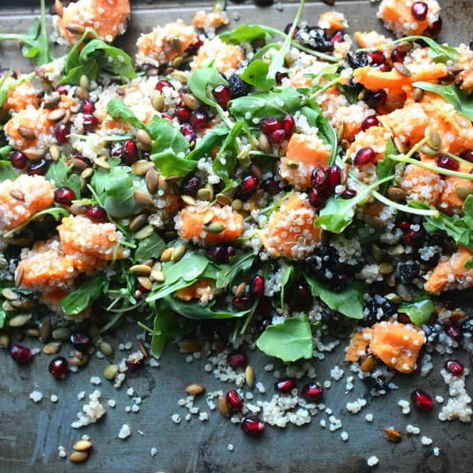 Sweet, savory, healthy Autumn Quinoa Sweet Potato Arugula Salad with Pomegranate and dried cherries...ADDICTED! thekitchengirl.com #thanksgivingsalad #christmassalad #holidaysalad #quinoasalad #fallsalad