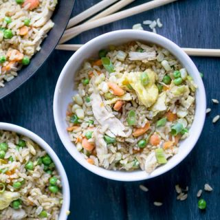 Healthy chicken fried rice recipe with brown rice [or white], fresh vegetables, and reduced sodium soy sauce! Skip the Takeout Chicken Fried Brown Rice. thekitchengirl.com #lowsodium #chinesefood #friedrice #chickenfriedrice #glutenfreefriendly