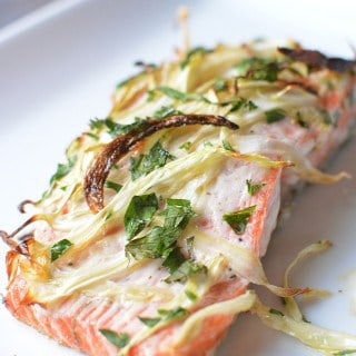 Elegant, 15-minute dish to impress any crowd! Broiled Fennel Salmon couldn't be easier or more delicious! thekitchengirl.com #broiledsalmon #fennelsalmon #bakedsalmon #wildsalmon