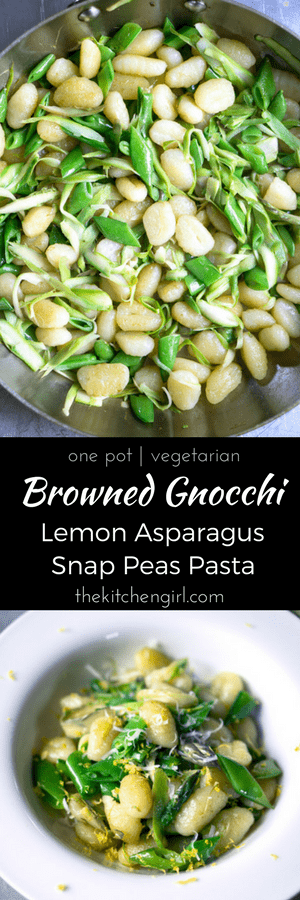 Elegant and EASY! 30 minute Browned Gnocchi Lemon Asparagus Snap Peas Pasta topped with parmesan cheese and lemon zest. thekitchengirl.com #vegetarian #asparaguspasta #springseason #asparagus #peas #gnocchi #skilletmeal #onepot