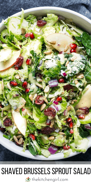 (top) shaved brussel sprout salad in white bowl (bottom) title text