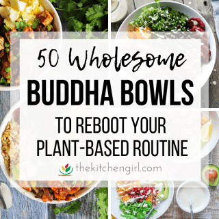 buddha bowl collage with title text in center