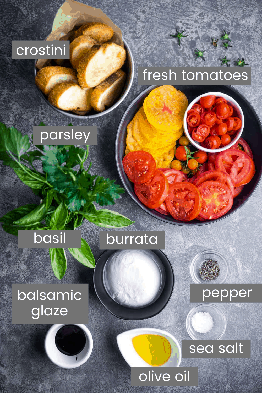 burrata recipe ingredients in individual bowls with text overlay