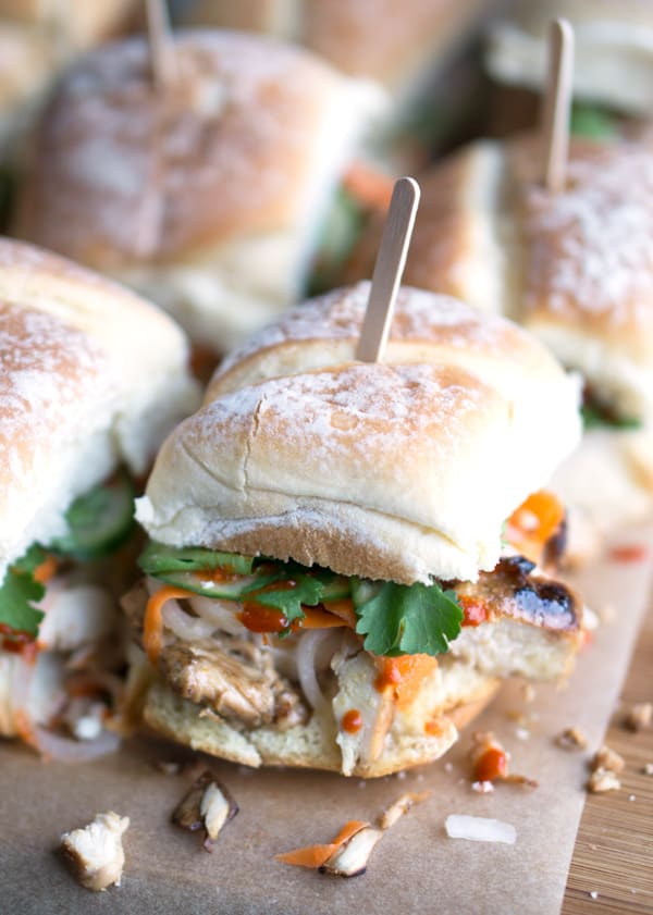 low angle view of banh mi sandwiches on parchment paper background