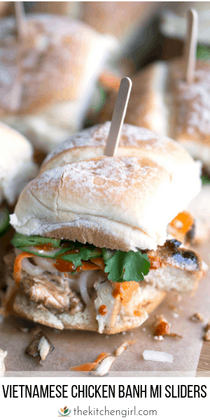 (top) low angle view of banh mi sandwiches on parchment paper background (bottom) title text