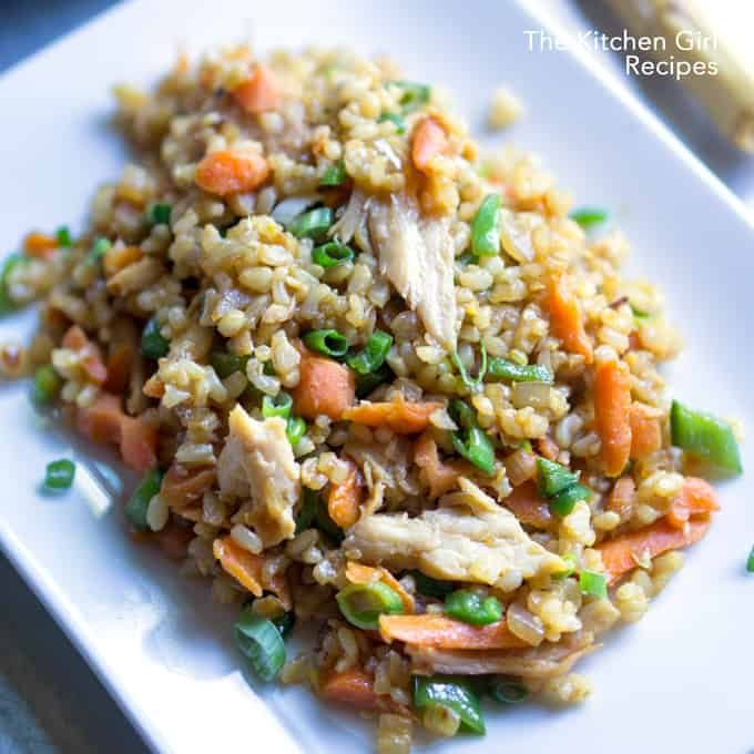 20-min veggie-loaded, one-skillet wonder Chicken Teriyaki Fried Brown Rice by thekitchengirl.com #rotisseriechicken #friedbrownrice #friedrice #20minutemeal #chickenfriedrice #leftoverchicken #teriyakichicken