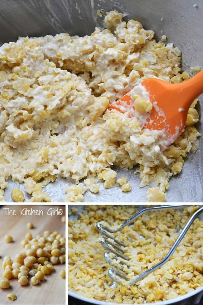 Chickpea Smash: Eggless Egg Salad - Dairy-free, GF, spread for sandwiches, wraps, and crackers. Great protein and fiber...in 5 minutes! thekitchengirl.com