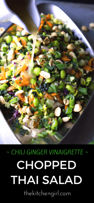 Raw veggie LOADED Thai salad for clean eating meal prep. Chopped Thai Salad with Chili Ginger Vinaigrette on thekitchengirl.com. #vegan #glutenfree #mealprep #meatlessmonday #cleaneating #asiansalad