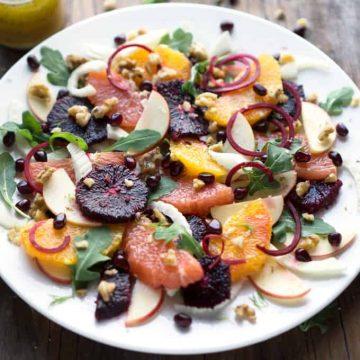 Quench your body with an elegant Citrus Galore Winter Salad during the coldest months #citrus #wintersalad #fruitsalad #orange #grapefruit #pomegranate #bloodorange #arugula #beets #holidaysalad