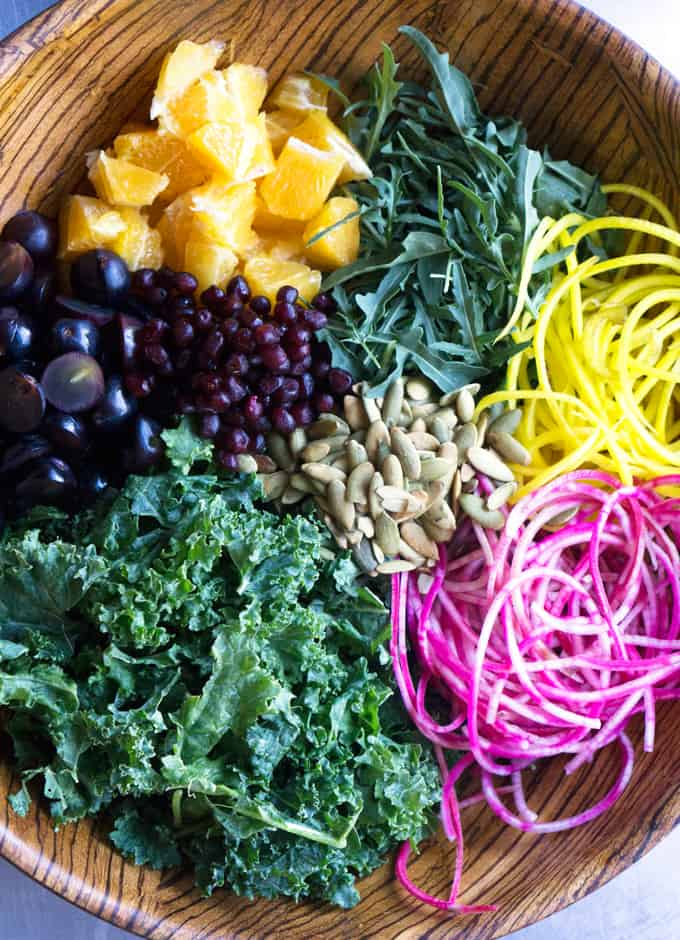 Spiralized Beet and Kale Salad
