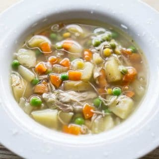 The chicken is never dry in this crockpot chicken vegetable soup. A true, toss-and-go slow cooker soup with no pre-cooking! #chickenvegetable #chickensoup #glutenfree #dairyfree #crockpotsoup #slowcooker #weeknightmeal