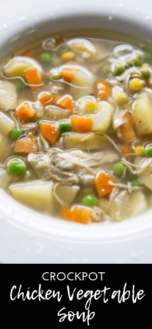 Chicken is never dry in this crockpot chicken soup, and there's plenty of vegetables. There's no pre-cooking with this chicken soup recipe...just toss and go! #chickenvegetable #chickensoup #glutenfree #crockpotsoup #slowcooker
