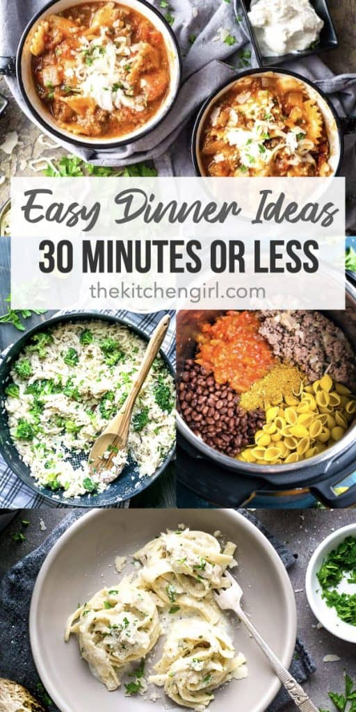 easy dinner meals collage with title text overlay