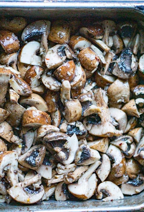 pan of marinated mushrooms