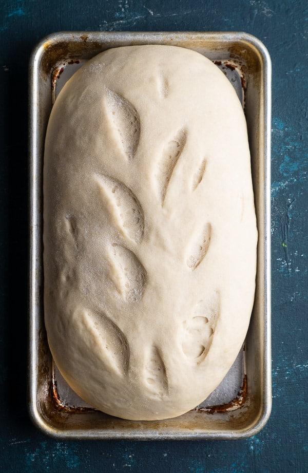 bread loaf proofing on baking sheet