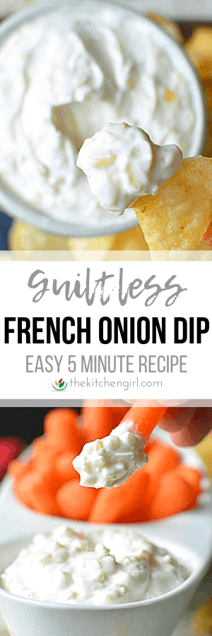 (top) French onion dip on potato chip (middle) title text (bottom) French onion dip on carrot stick