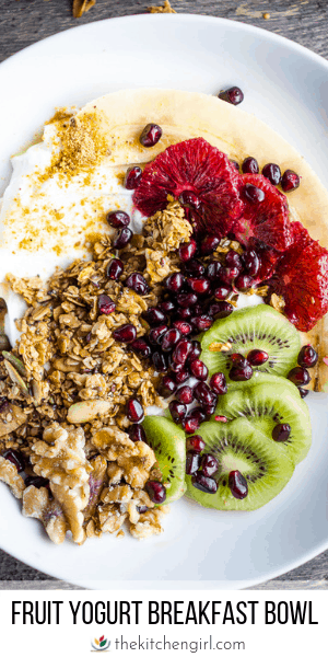 (top) fresh fruit, granola, and walnuts in white bowl on gray wooden table (bottom) title text