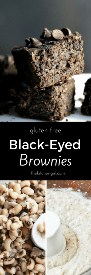 Black eyed peas have a fraction of the calories and carbs that black beans have. Make Gluten Free Black Eyed Brownies on thekitchengirl.com #almondflour #glutenfreebrownie #newyearsday #goodluckfood #blackeyedpeas