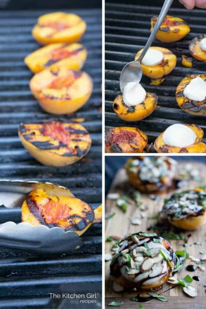 Grilled Peaches Caprese With Balsamic Glaze with fresh mozzarella and almonds makes the perfect, gluten free summer appetizer or dessert! thekitchengirl.com