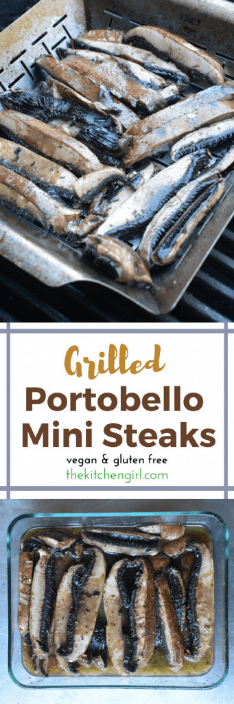 SO easy!!! Marinated grilled portobello mushroom mini steaks are the perfect, meatless griller that even meat lovers will love! #grilledmushrooms #grilledportobello #grilledportobella #vegetarian #vegan