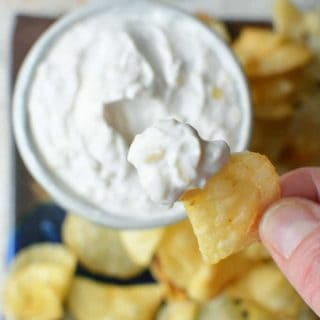 Secretly healthy Nonfat Greek yogurt based dip...and no one knows! Guiltless French Onion Dip recipe at thekitchengirl.com #oniondip #easyoniondip #greekyogurt #healthyholidayrecipe #yogurtdip
