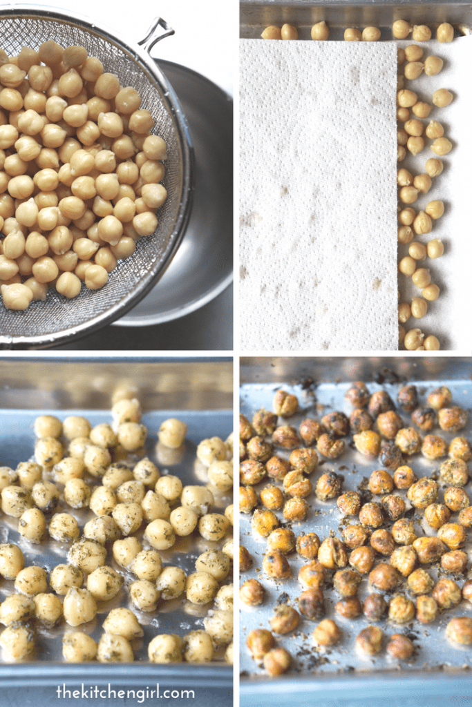 prep steps of herb roasted chickpeas includes draining, towel drying, spreading on baking sheet, and baked