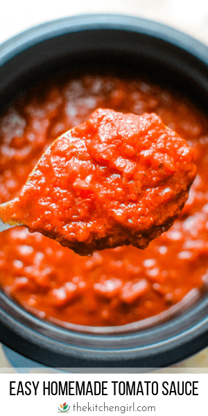 (top) close up of red homemade tomato sauce on serving spoon over pot of sauce (bottom) title text