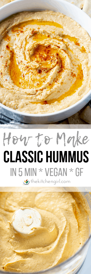(top) hummus with olive oil and paprika garnish in white bowl (center) title text (bottom) hummus blended in food processor bowl