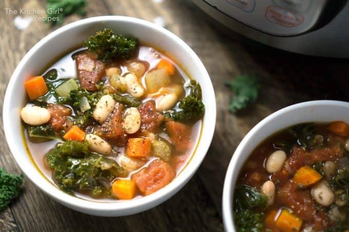 Healthy, comfort food in 30 minutes! Vegan Tuscan White Bean Kale Soup #instantpot #instantpotsoup #vegansoup #whitebeansoup #tuscansoup #beansandgreens #kale #kalesoup