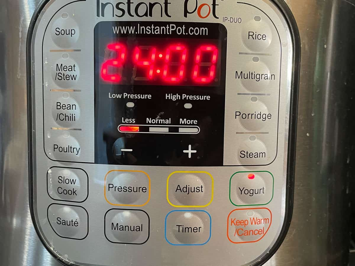 Instant pot display panel yogurt LESS setting