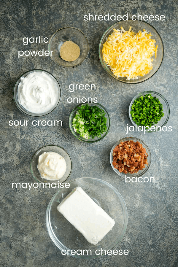 jalapeno popper recipe ingredients in glass bowls with text overlay