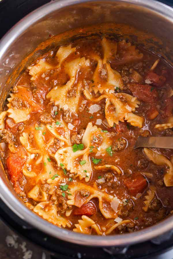 lasagna soup in pot with ladle