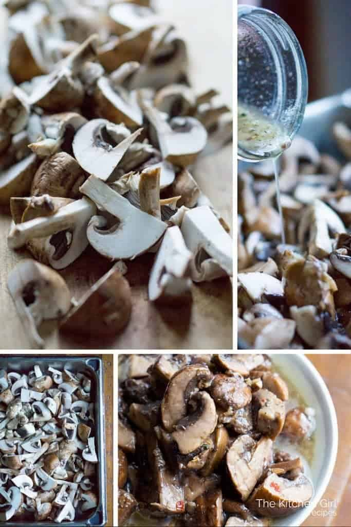 Healthy, Italian marinated mushrooms that go with everything! Serve as an appetizer, condiment, salad ingredient, or side dish. #vegan #veganappetizer #glutenfree #marinatedmushrooms #mushrooms