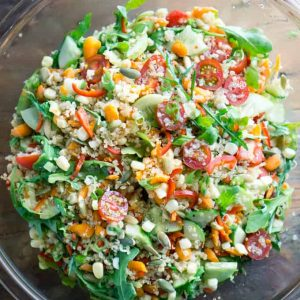 Clean eating vegetable and quinoa salad with Balsamic vinaigrette #vegan #quinoarecipe #mealprep #choppedsalad #lunchideas #healthylunch #quinoasalad #summersalad