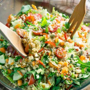 Make once...eat all week! Meal Prep Veggie Quinoa Chopped Salad with Balsamic vinaigrette on thekitchengirl.com #quinoarecipes #mealprep #choppedsalad #lunchideas #healthylunch #quinoasalad #mealplan