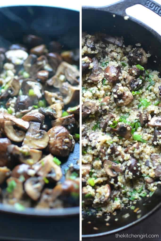 Mushroom sesame quinoa is the perfect fried rice substitute. It's GF, vegan, simple, high-protein, and takes 20 minutes #quinoa #sidedish #mushrooms #vegan #glutenfree