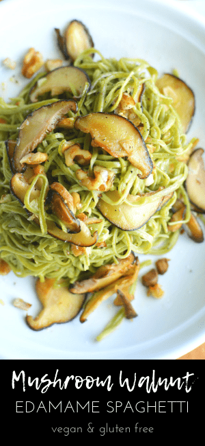 (top) edamame pasta with mushrooms and walnuts on white plate (bottom) title text