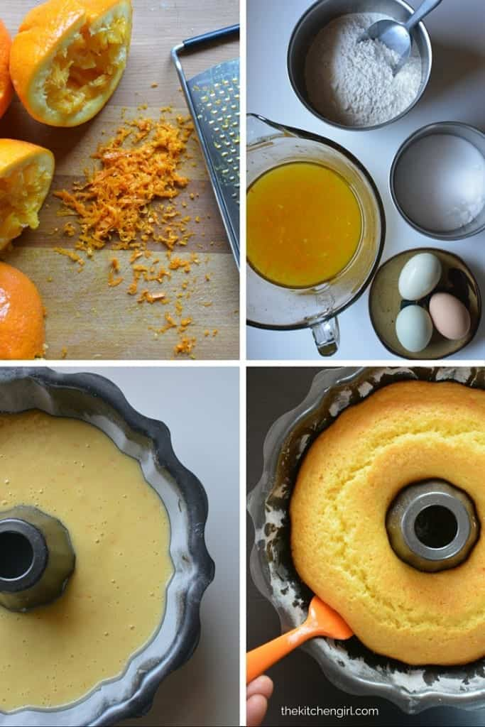 Spanish Orange Olive Oil Cake dessert recipe made with fresh squeezed orange juice, zest and almonds. Easy bundt cake batter and decadent ganache. Great for casual or formal events. thekitchengirl.com