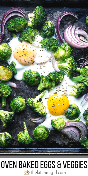 (top) baked eggs, broccoli, Brussels sprouts, and red onion on black sheet pan (bottom) title text