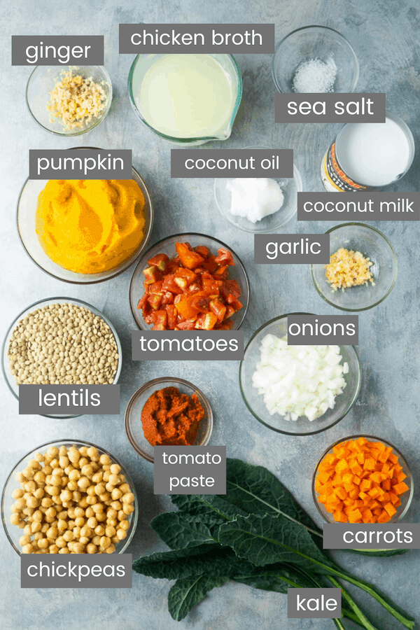 pumpkin curry ingredients in glass bowls with text overlay