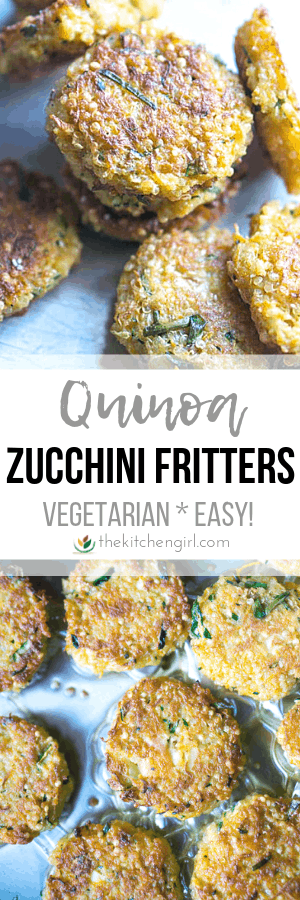 (top) quinoa zucchini fritters (middle) title text (bottom) (top) quinoa zucchini fritters (bottom) quinoa zucchini fritters in frying pan