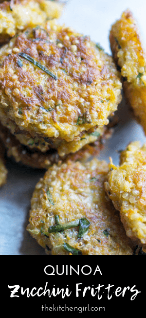 Quinoa zucchini fritters with carrots, green onions, panko, eggs, and seasoning. Recipe includes video! #vegetarian #zucchinifritters #appetizer #partyfood #fritters #healthyappetizer #zucchini #gameday