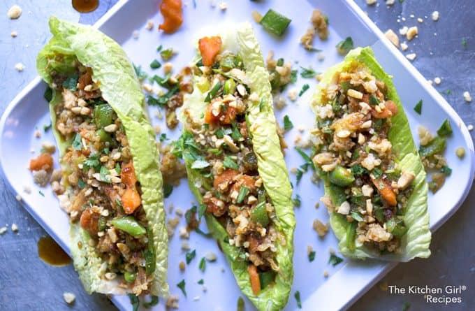 SO easy and healthy! Rotisserie Chicken Teriyaki Lettuce Cups on thekitchengirl.com #teriyaki #lettucewraps #lettucecups #rotisseriechicken #gameday #tailgate #appetizers #lunchrecipe #packyourlunch #asianlettucewraps
