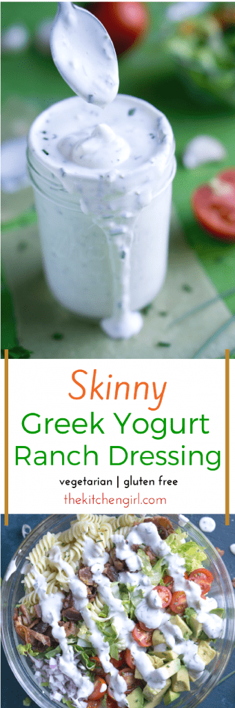 Secretly healthy with MORE protein and LESS fat and calories than mayo-based Ranch. Skinny Greek Yogurt Ranch Dressing at thekitchengirl.com #healthyeating #greekyogurt #nonfat #lowcal #eatclean #ranchdressing