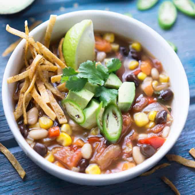 Instant Pot Vegan Tortilla Soup[V + GF]