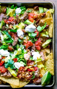 nachos supreme on sheet pan